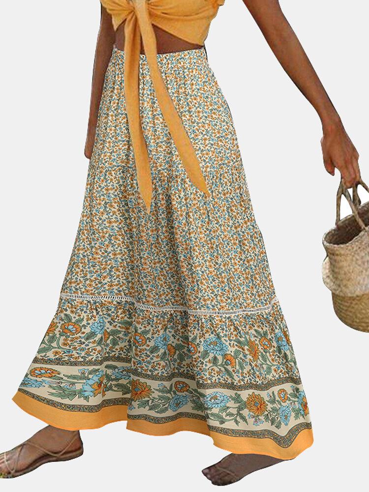 Bohemian Floral Printed Belt Elastic Waist Long Skirt