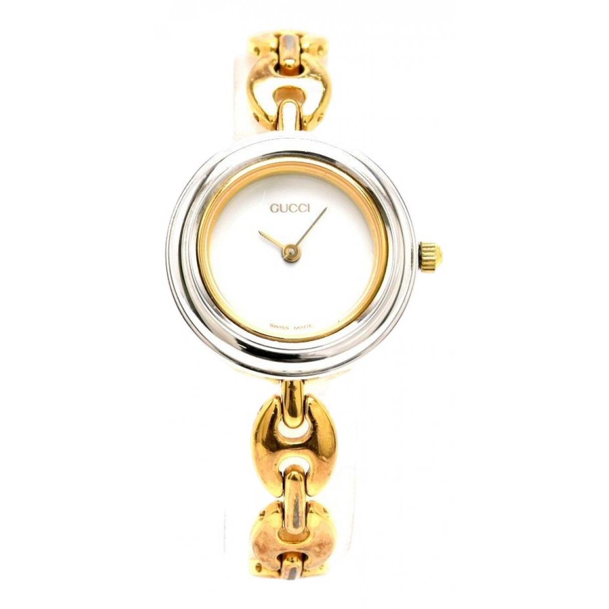 Gucci - Montre   pour femme en plaque or - argente