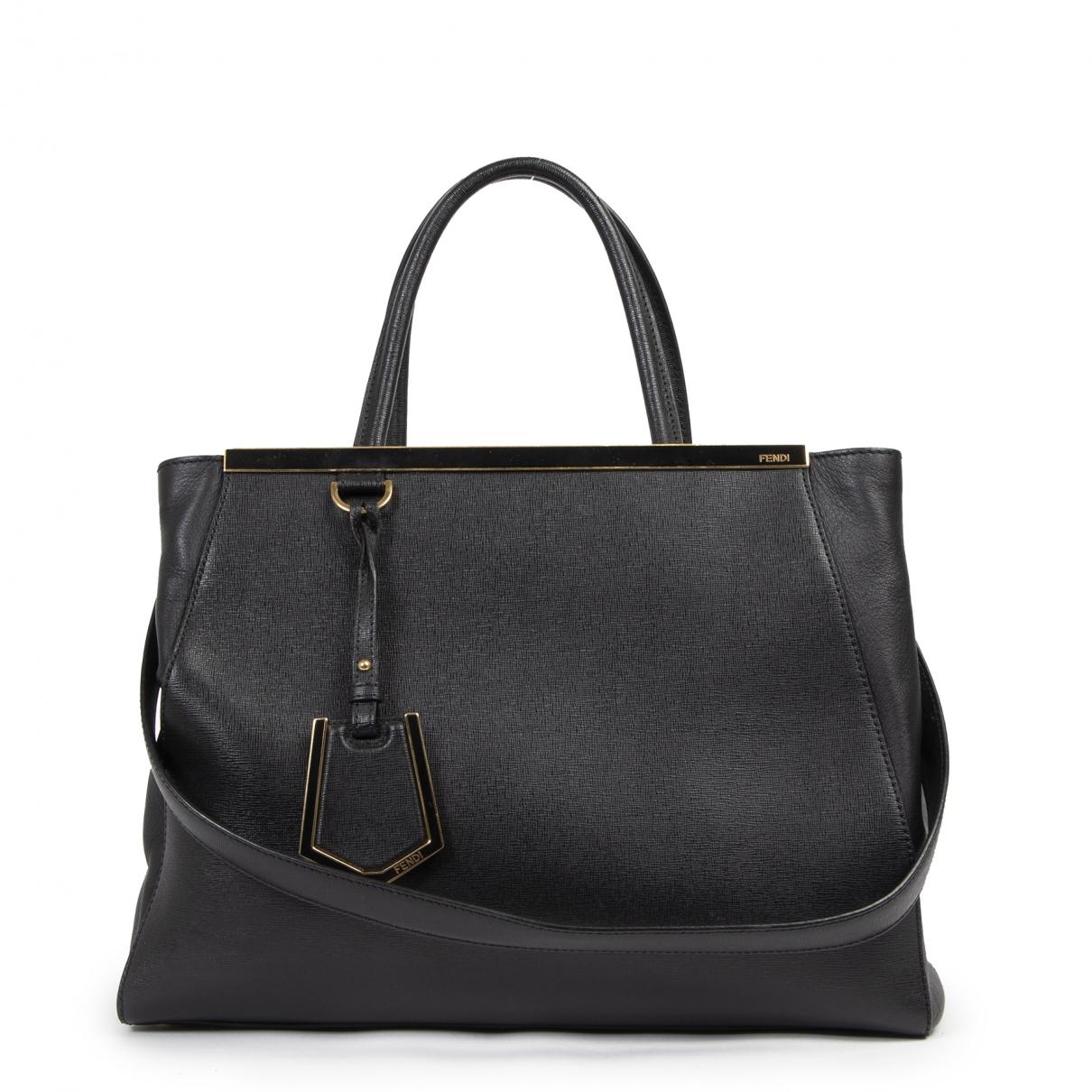 Fendi 2Jours Handtasche in  Schwarz Leder