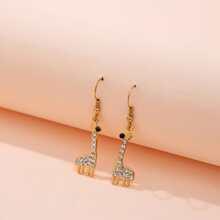 Rhinestone Giraffe Charm Drop Earrings