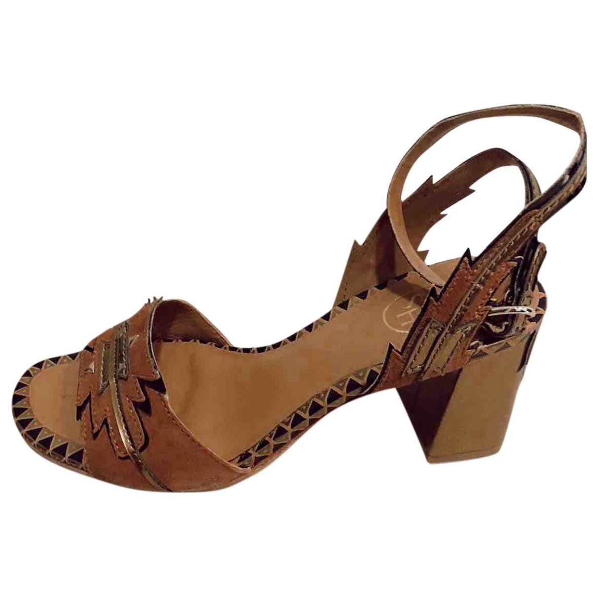 Ash - Sandales   pour femme en cuir - camel