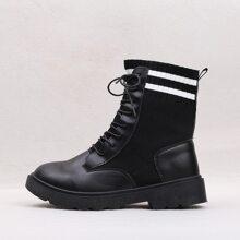 Stiefel mit runder Zehenpartie und Streifen