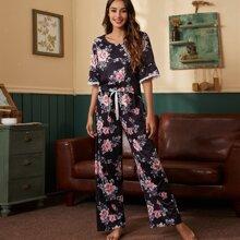 Pajama Set mit Blumen Muster, Spitzen und Schleife