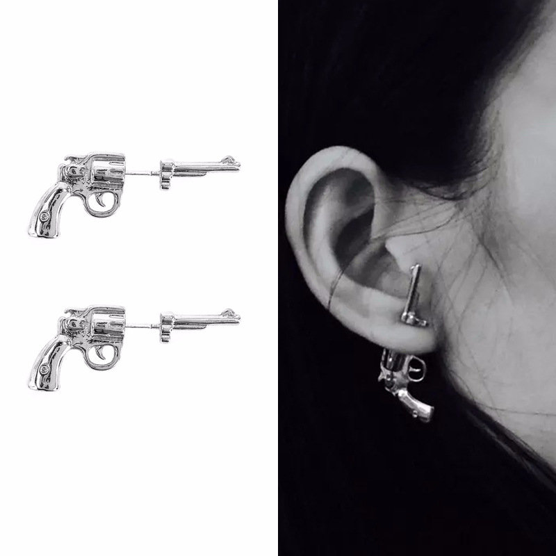 Punk Unisex Silver Gold Color Gun Stud Earrigs 925 Sterling Silver Needle Ear Jacket Earrings