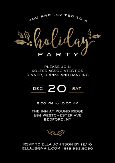Christmas & Holiday Party Invitations 5x7 Cards, Standard Cardstock 85lb, Card & Stationery -Holiday Invite Gold Holly