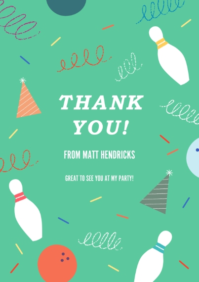 Kids Birthday Thank You 5x7 Cards, Premium Cardstock 120lb with Rounded Corners, Card & Stationery -Strike Up Fun Thank You