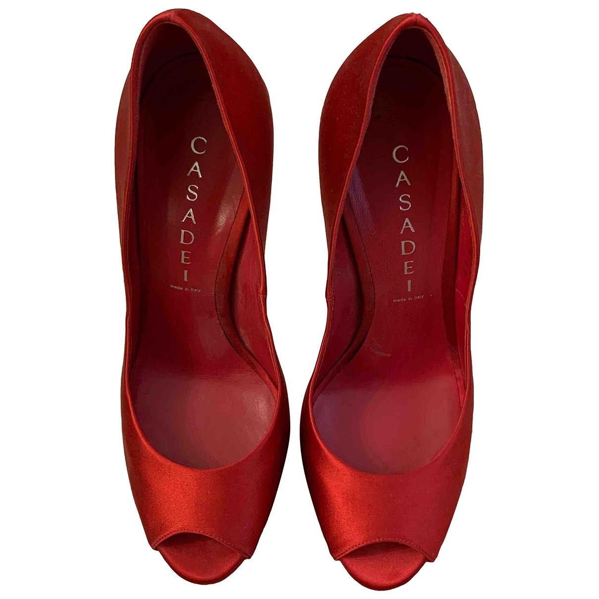 Casadei - Escarpins   pour femme en toile - rouge