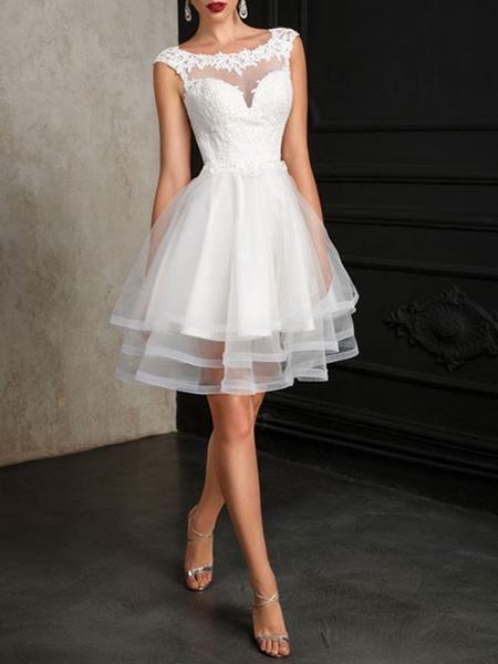 Milanoo Wedding Dresses 2020 A Line Jewel Neck Sleeveless Natural Waist Tulle Short Bridal Dress