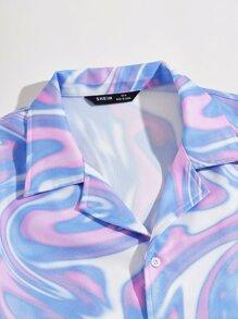 Men Notched Collar Tie Dye Shirt