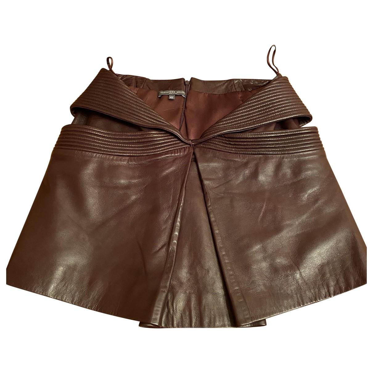 Alexander Mcqueen - Jupe   pour femme en cuir - marron