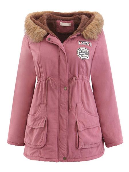 Milanoo Abrigo con parka con capucha Bolsillos con ribete de piel sintetica Cordon con capucha Abrigo de invierno verde cazador