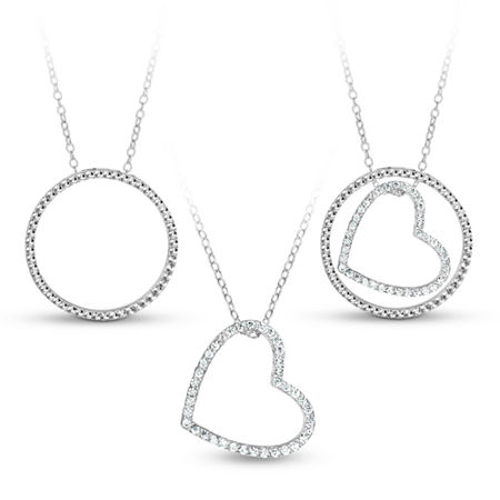 Sterling Silver 3-in-1 Cubic Zirconia Circle Heart Necklace, One Size , Multiple Colors