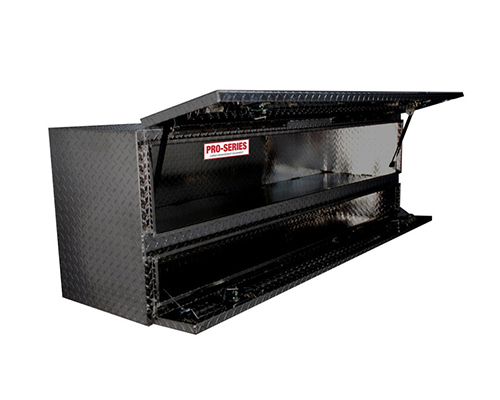 Westin Automotive 80-TB400-96D-B Brute Pro-Series Tool Box Black High Cap 96in Stake Bed Contractor TopSider with Doors