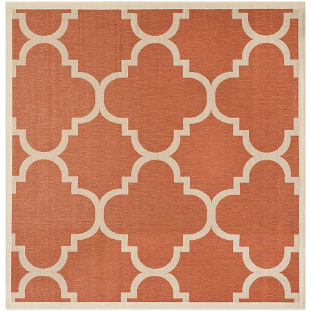Safavieh Courtyard Collection Gina Geometric Indoor/Outdoor Square Area Rug, One Size , Orange