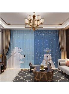 3D Cartoon Winter Snow and Lovely Polar Bear Family Printed 2 Panels Custom Sheer