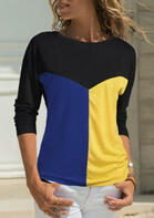 Color Block Splicing O-Neck T-Shirt Tee without Necklace - Blue
