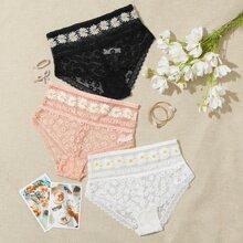 3pack Daisy Tape Lace Panty Set
