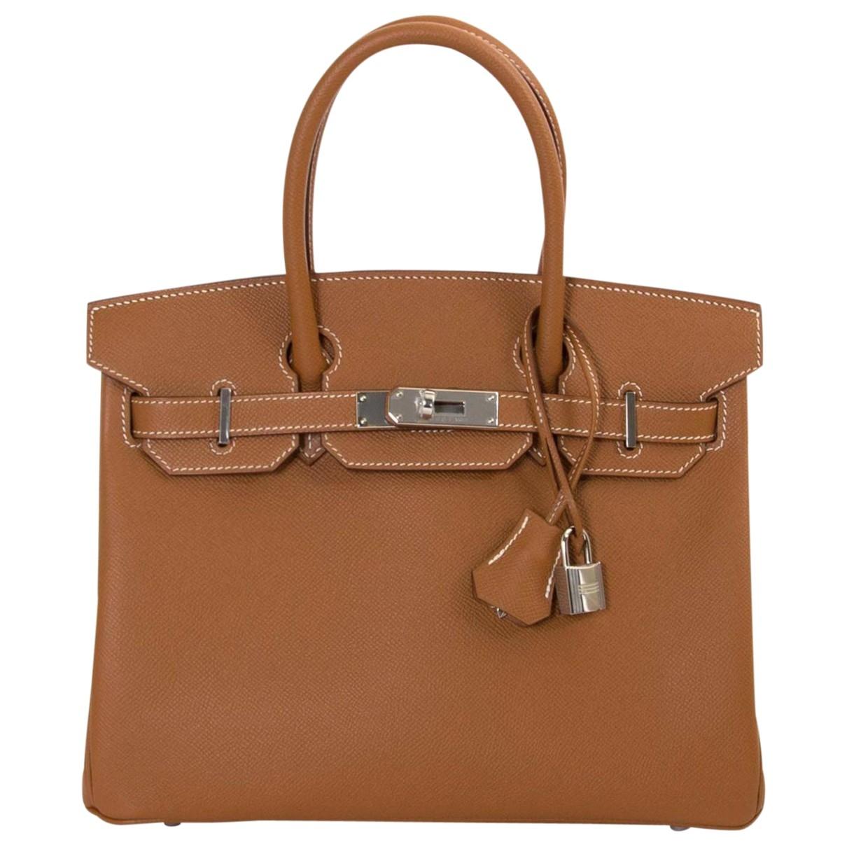 Hermes Birkin 30 Handtasche in  Braun Leder