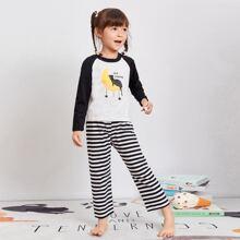 Pajama Set mit Karikatur und Streifen Muster