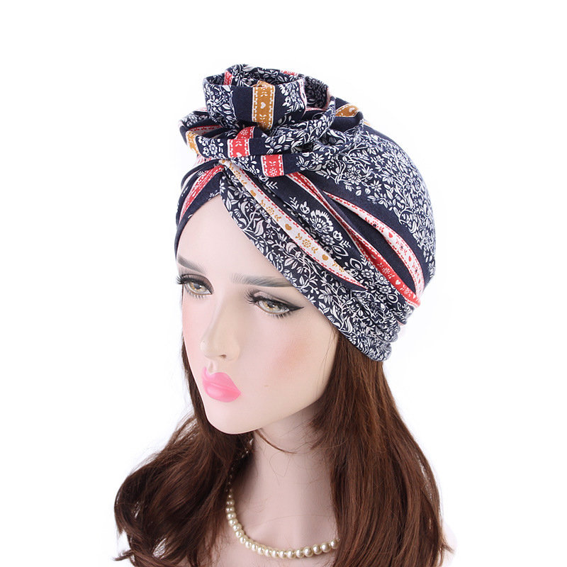 Women Cotton Tray Flower Headband Cap Boho EthnicBeanie Hat Casual Outdoor Windproof Hat
