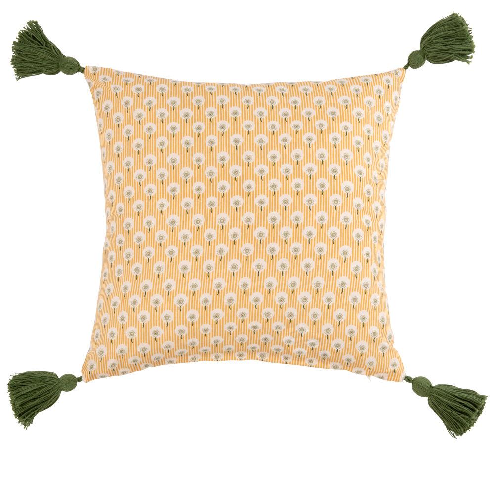 Kissenbezug aus Baumwolle, gelb mit Blumendruckmuster 40x40