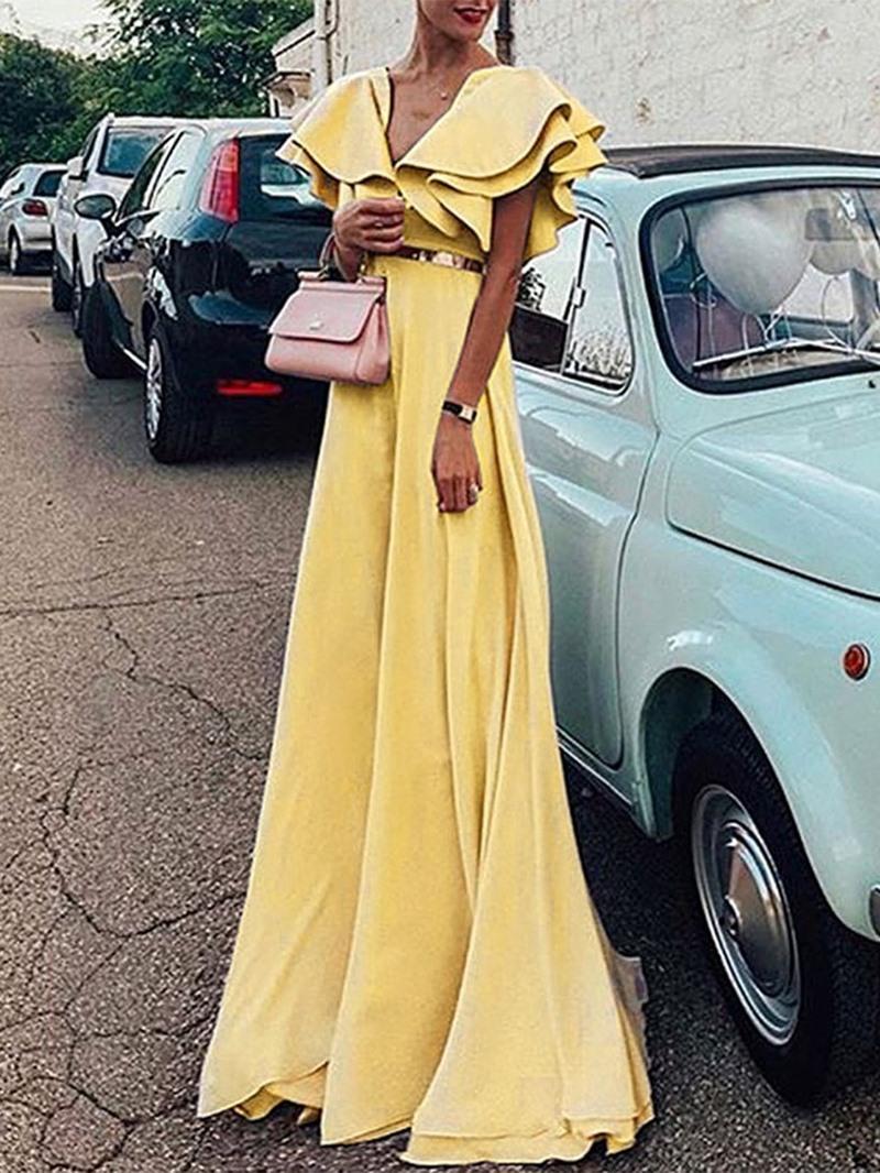 Ericdress Floor-Length Short Sleeve Falbala A-Line High Waist Dress