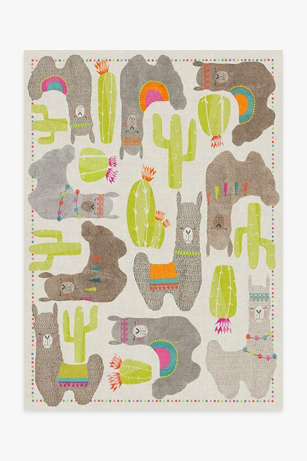 Washable Rug Cover & Pad | Llama Fun Natural Rug | Stain-Resistant | Ruggable | 5'x7'