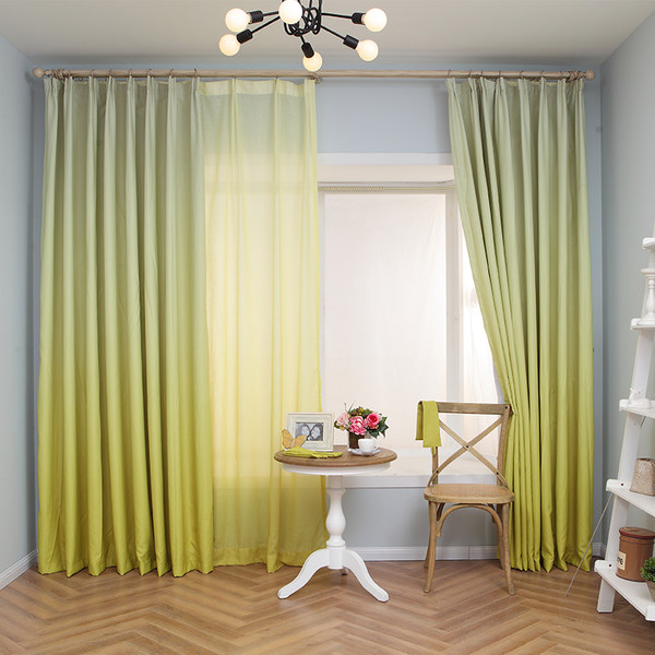 Gorgeous Lemon Yellow Gradient Color Custom Sheer Curtain
