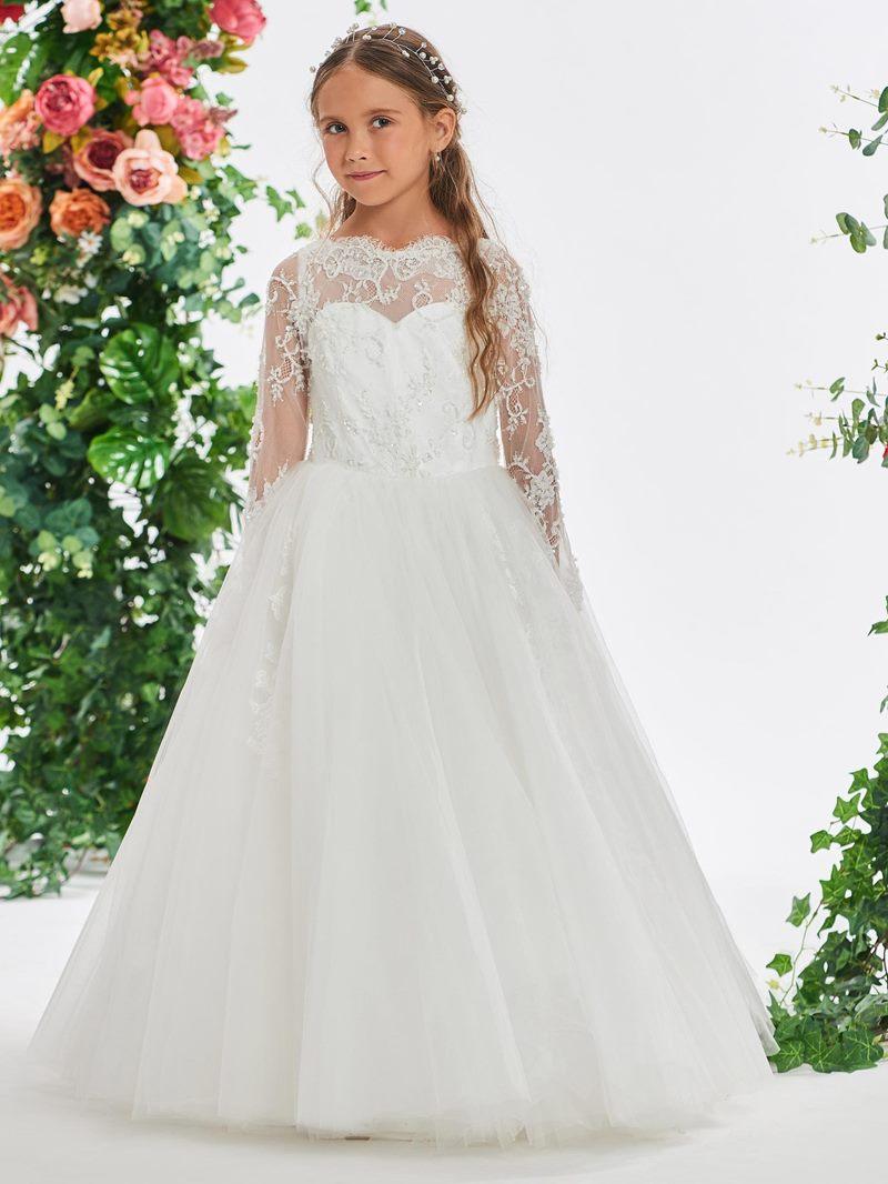 Ericdress Beading Lace Long Sleeves Flower Girl Dress