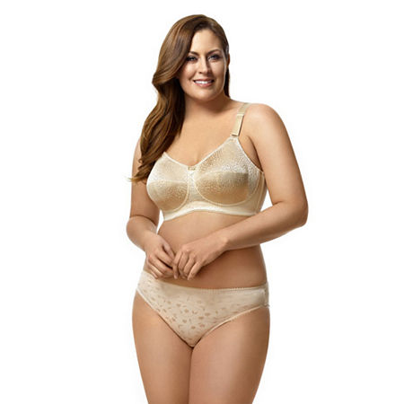 Elila Leopard Lace Softcup Full Coverage Bra, J , Beige