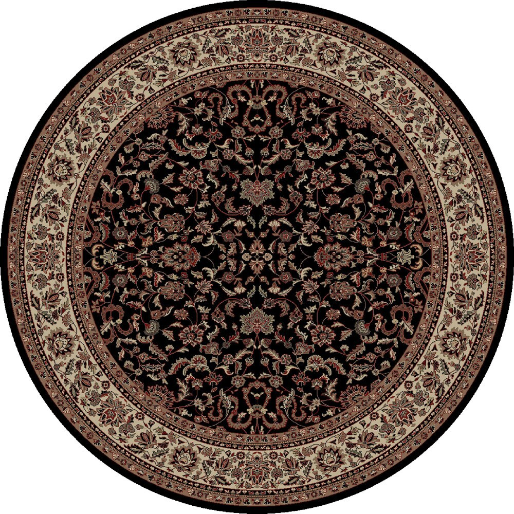 Concord Global Persian Classics Crystal Black  Round Rug (Black/Ivory 5'3