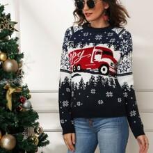 Bus & Ugly Pattern Raglan Sleeve Sweater