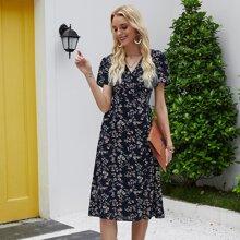 Kleid mit Fledermausaermeln, Wickel Design und Blumen Muster