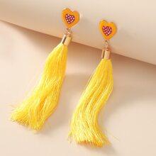 Heart Decor Tassel Drop Earrings
