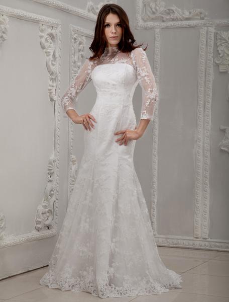 Milanoo Traje de novia blanco de encaje y de saten ajustado con escote alto de cola barrida