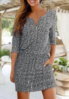 Geometric Pocket Zipper Drawstring Mini Dress - Black
