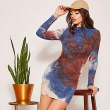 Strick Kleid mit Stehkragen und Batik