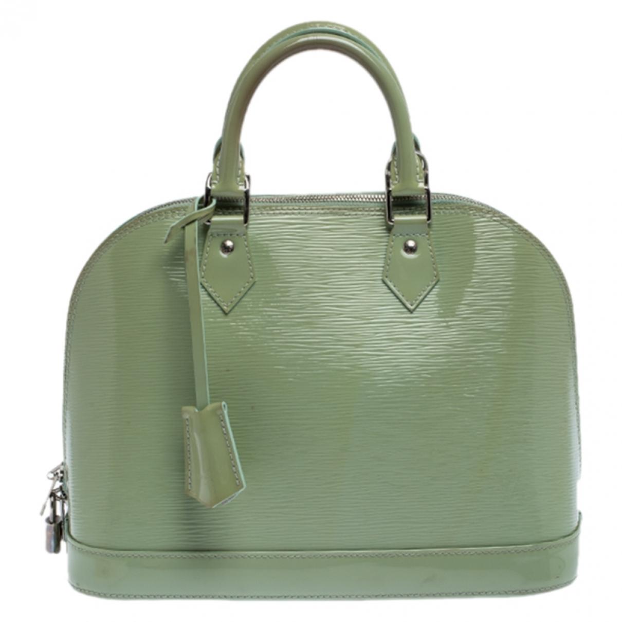 Louis Vuitton - Sac a main Alma pour femme en cuir verni - vert