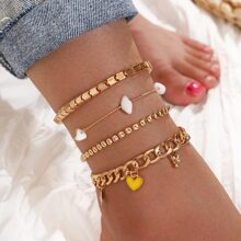 4pcs Star & Heart Decor Anklet