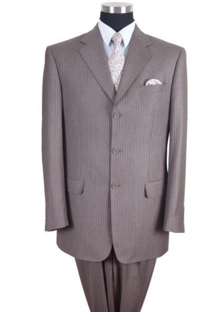 Mens Tan/Beige Pinstripe/Stripe 3 button Suit Pleated Pants