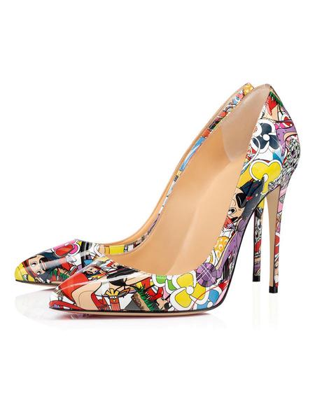 Milanoo Tacones altos para mujer Punta puntiaguda Obra roja Tacon de aguja Zapatos sin cordones