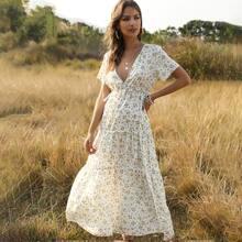 Ditsy Floral Slit Hem Maxi A-line Dress