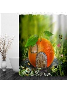 3D Door Window on Orange Polyester Waterproof Antibacterial and Eco-friendly Shower Curtain