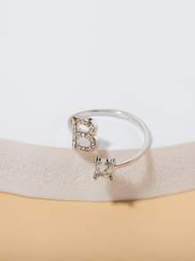 Letter Decor Cuff Ring
