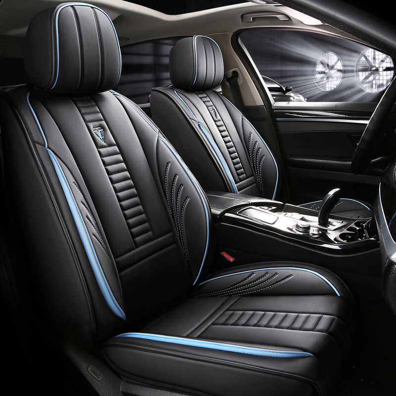 Sport Style Full Coverage Soft Wear-Resistant Durable Skin-Friendly Man-Made PU Leather Airbag Compatible 5-Seater Universal Fit Seat Covers