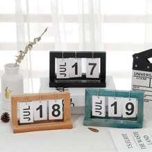 1pc Creative Wooden Calendar Decorative Object
