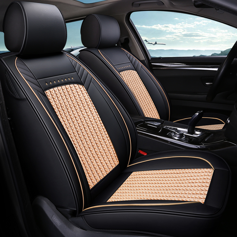 Modern Style Color Block PU Leather Material Universal Car Seat Cover