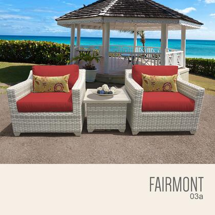 FAIRMONT-03a-TERRACOTTA Fairmont 3 Piece Outdoor Wicker Patio Furniture Set 03a with 2 Covers: Beige and