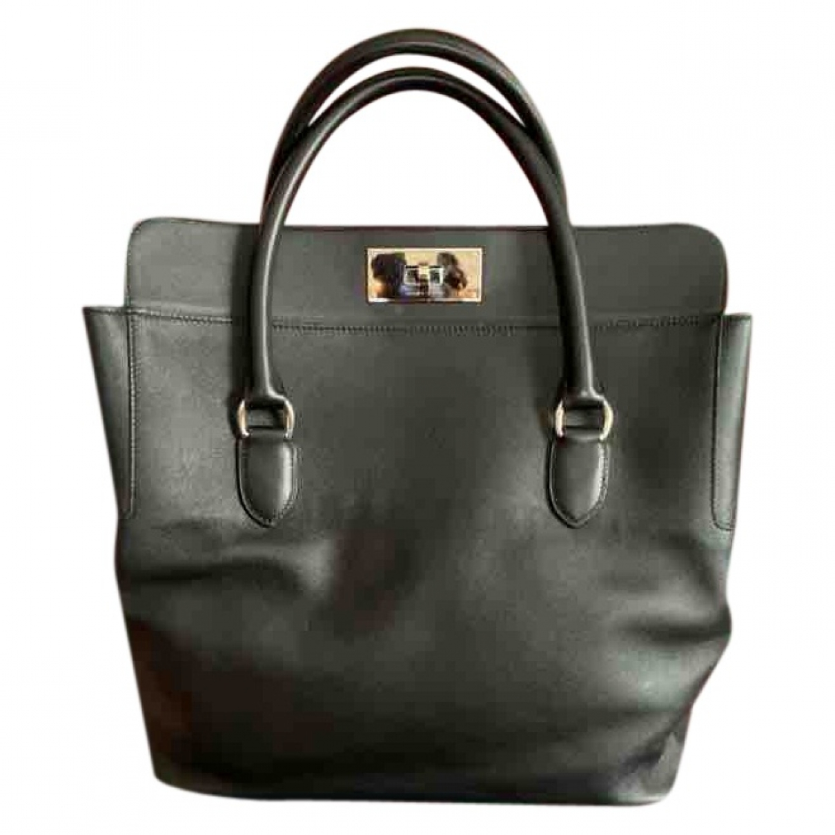 Hermes - Sac a main Toolbox pour femme en cuir - noir