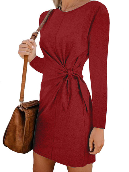 Yoins Tie-up Design Twisted Round Neck Long Sleeves Dress
